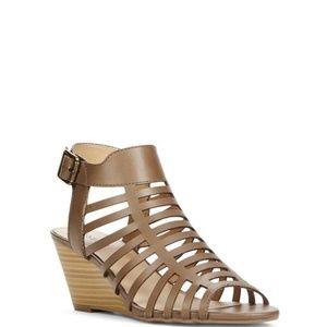 Stone Dark Beige Open Toe Leather Wedge Sandals